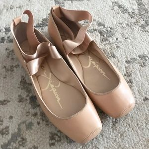 Jessica Simpson 8.5w leather tan ballet flats